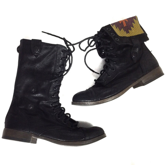 Mossimo Target Faux Suede Fold over combat boots 7